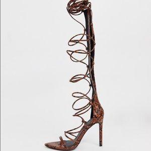 ASOS Design Lace Up Snake Print Heels - sz 37